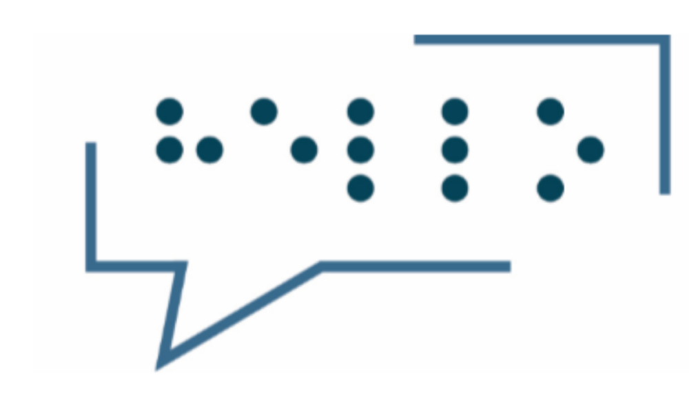 "MindsEye Speech Bubble with the word ""Hello"" in Braille"